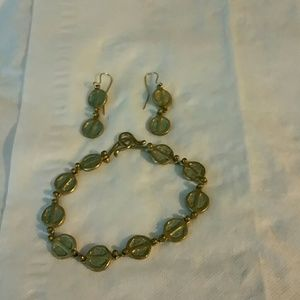 Women's bracelet and earrings